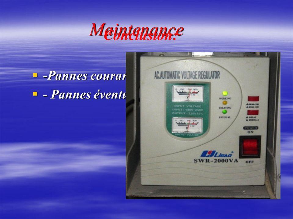 Maintenance Maintenance -Pannes courantes -Pannes courantes - Pannes éventuelles - Pannes éventuelles Conclusion: