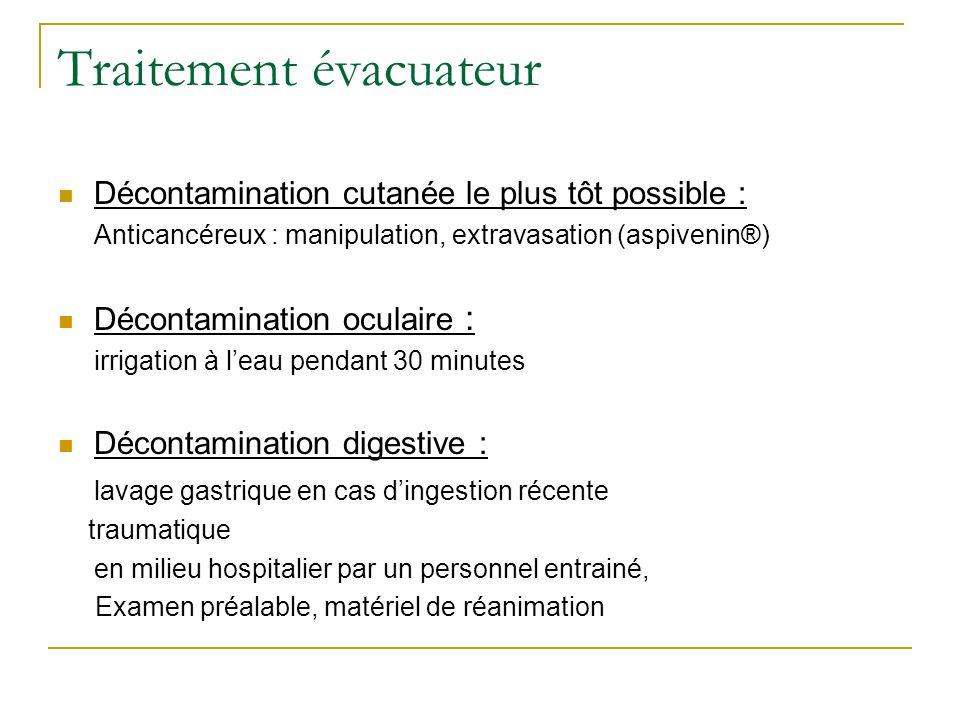 Traitement évacuateur Décontamination cutanée le plus tôt possible : Anticancéreux : manipulation, extravasation (aspivenin®) Décontamination oculaire