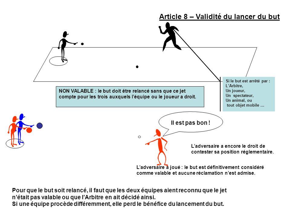 Article 8 – Validité du lancer du but Si le but est arrêté par : LArbitre, Un joueur, Un spectateur, Un animal, ou tout objet mobile … NON VALABLE : l