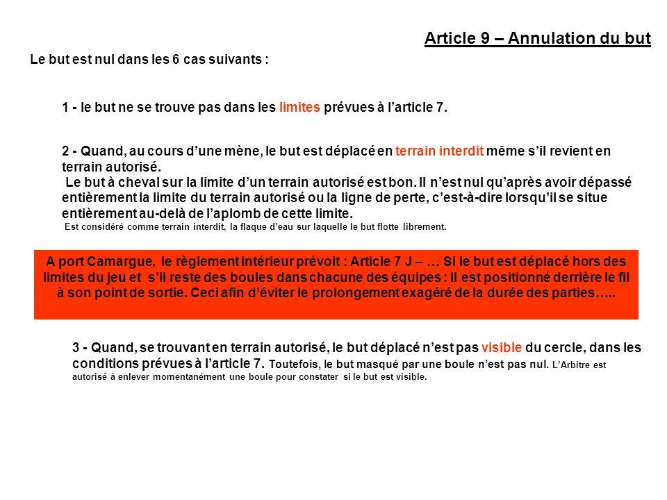 Article 9 – Annulation du but Le but est nul dans les 6 cas suivants : 1 - le but ne se trouve pas dans les limites prévues à larticle 7. 2 - Quand, a
