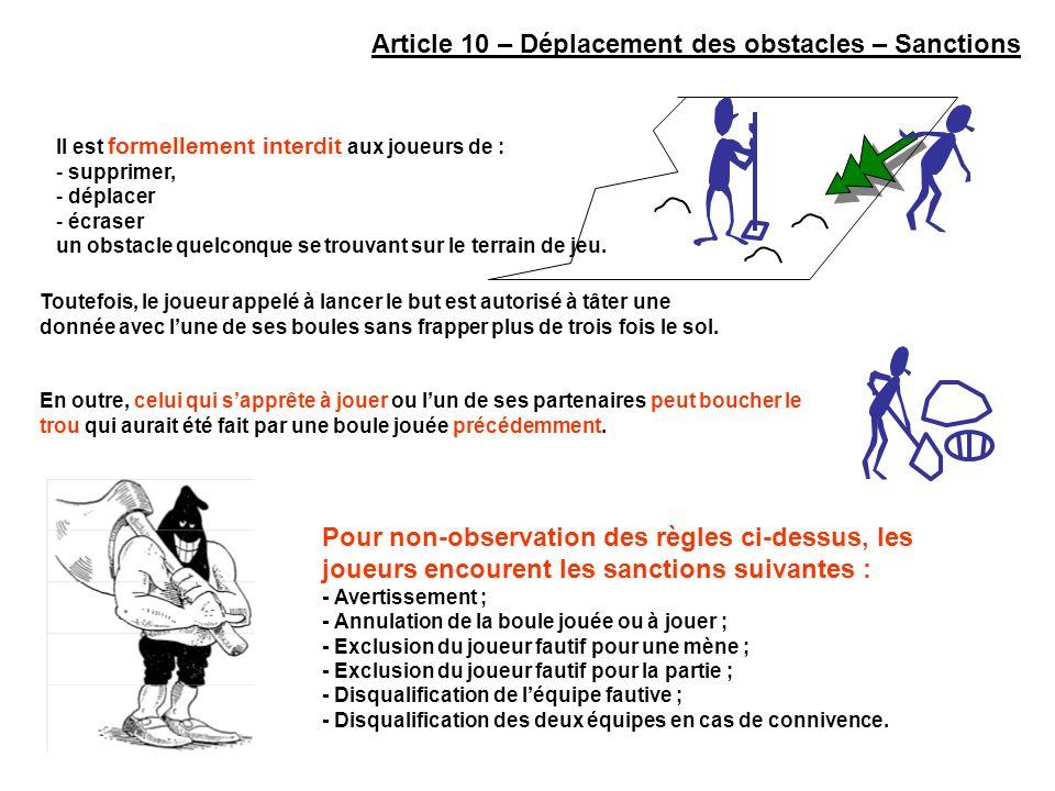 Article 10 – Déplacement des obstacles – Sanctions Pour non-observation des règles ci-dessus, les joueurs encourent les sanctions suivantes : - Averti