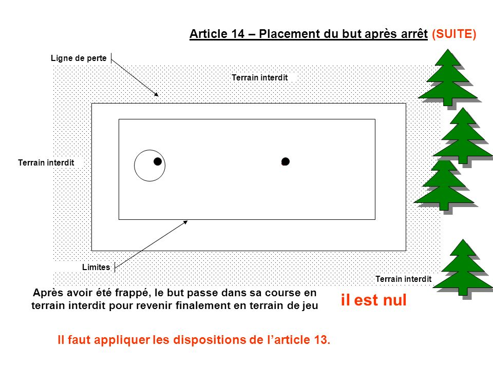 Article 14 – Placement du but après arrêt (SUITE) Ligne de perte Terrain interdit Limites Après avoir été frappé, le but passe dans sa course en terra
