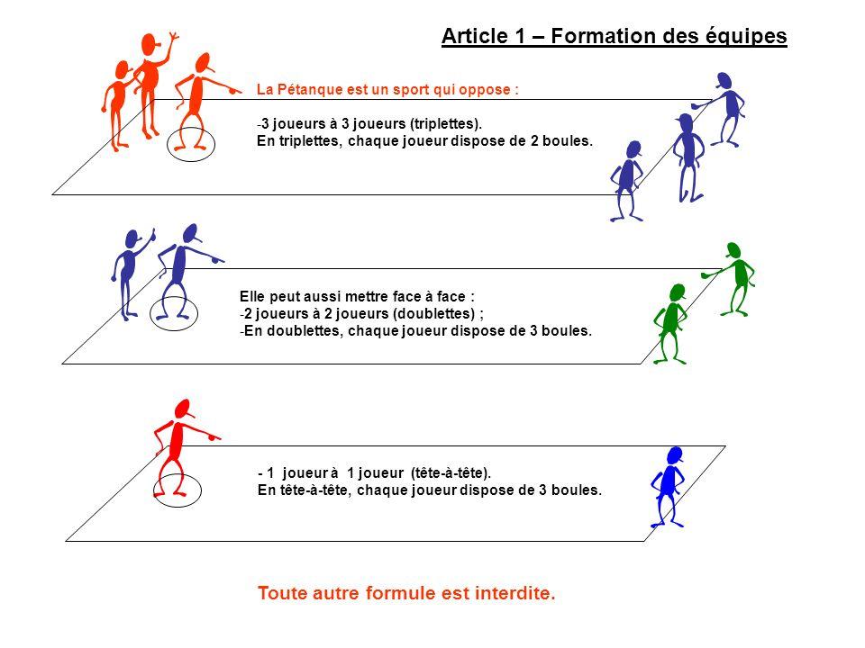 Toute autre formule est interdite. Article 1 – Formation des équipes La Pétanque est un sport qui oppose : -3 joueurs à 3 joueurs (triplettes). En tri