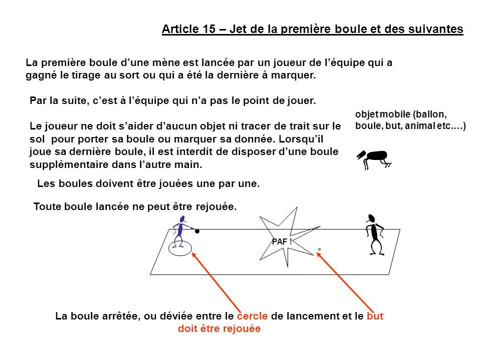 Article 15 – Jet de la première boule et des suivantes La première boule dune mène est lancée par un joueur de léquipe qui a gagné le tirage au sort o