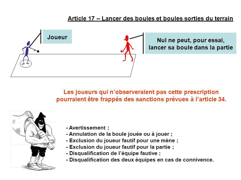 Article 17 – Lancer des boules et boules sorties du terrain Nul ne peut, pour essai, lancer sa boule dans la partie - Avertissement ; - Annulation de