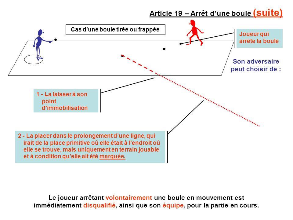 Joueur qui arrête la boule Article 19 – Arrêt dune boule (suite) Son adversaire peut choisir de : 1 - La laisser à son point dimmobilisation Le joueur