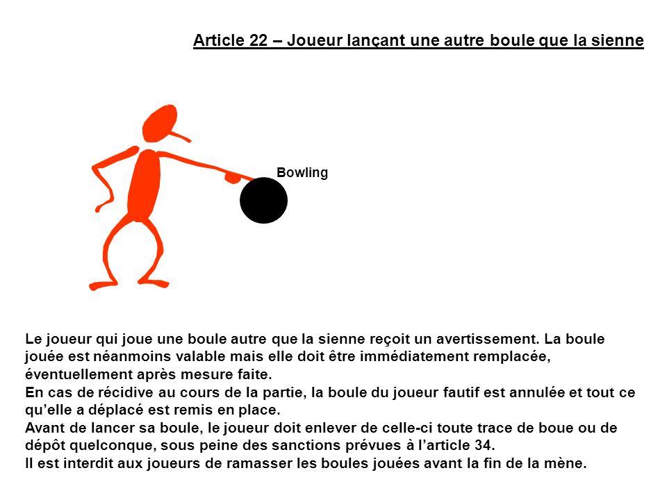 Article 22 – Joueur lançant une autre boule que la sienne Le joueur qui joue une boule autre que la sienne reçoit un avertissement. La boule jouée est