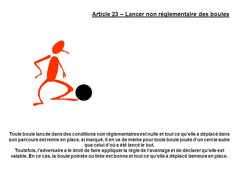 Article 23 – Lancer non réglementaire des boules Toute boule lancée dans des conditions non réglementaires est nulle et tout ce quelle a déplacé dans