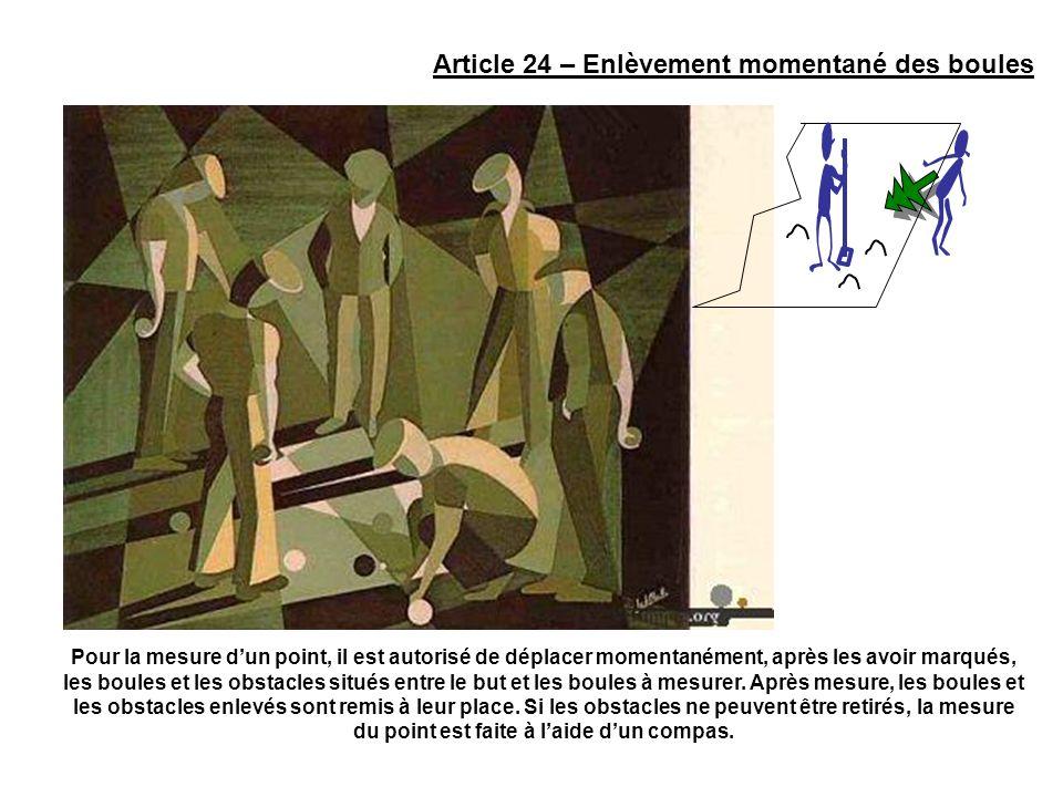 Article 24 – Enlèvement momentané des boules Pour la mesure dun point, il est autorisé de déplacer momentanément, après les avoir marqués, les boules