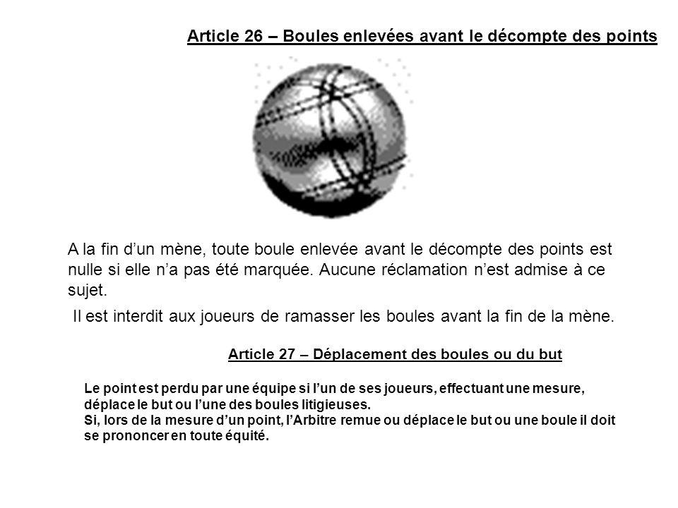 Article 26 – Boules enlevées avant le décompte des points A la fin dun mène, toute boule enlevée avant le décompte des points est nulle si elle na pas