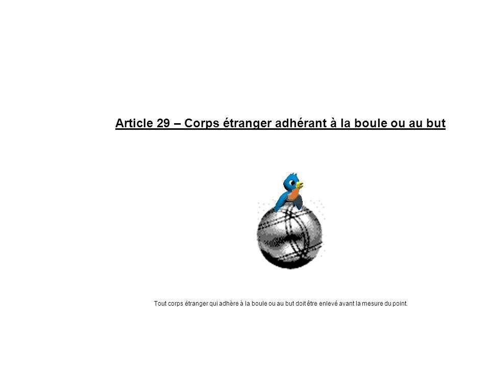 Article 29 – Corps étranger adhérant à la boule ou au but Tout corps étranger qui adhère à la boule ou au but doit être enlevé avant la mesure du poin