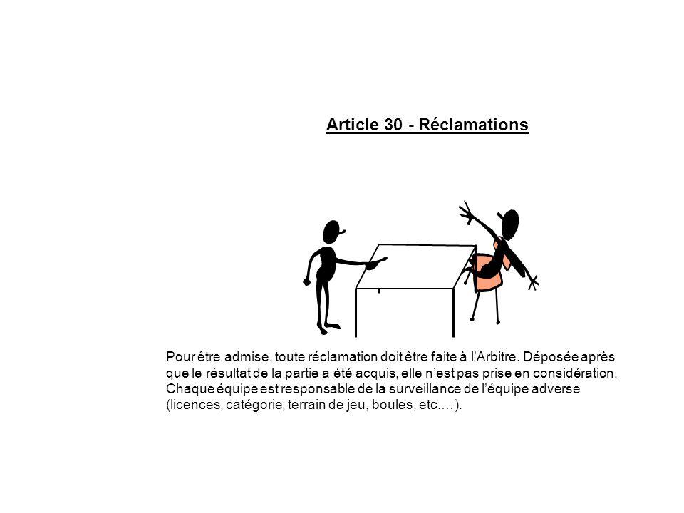 Article 30 - Réclamations Pour être admise, toute réclamation doit être faite à lArbitre. Déposée après que le résultat de la partie a été acquis, ell