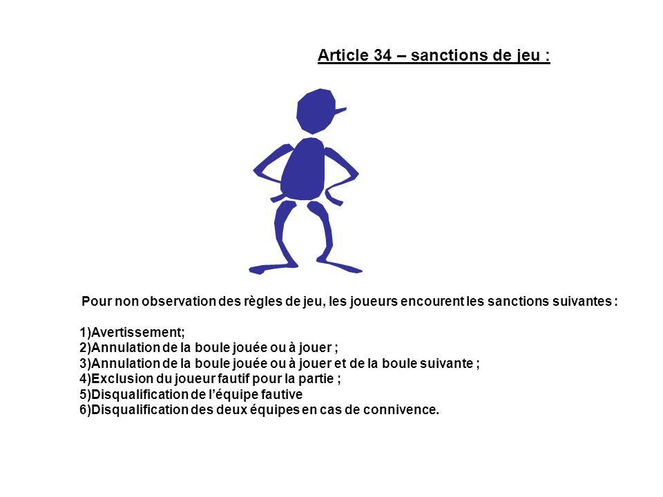 Article 34 – sanctions de jeu : Pour non observation des règles de jeu, les joueurs encourent les sanctions suivantes : 1)Avertissement; 2)Annulation