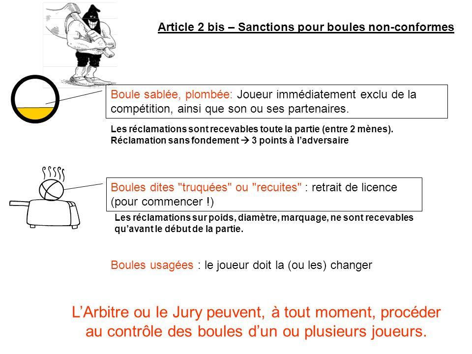 Article 2 bis – Sanctions pour boules non-conformes Boule sablée, plombée: Joueur immédiatement exclu de la compétition, ainsi que son ou ses partenai