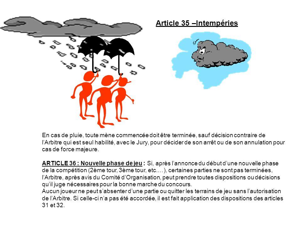 Article 35 –Intempéries En cas de pluie, toute mène commencée doit être terminée, sauf décision contraire de lArbitre qui est seul habilité, avec le J
