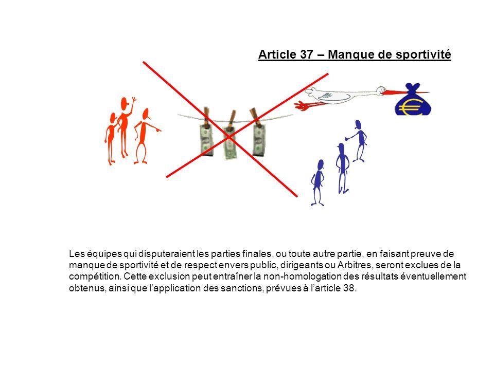 Article 37 – Manque de sportivité Les équipes qui disputeraient les parties finales, ou toute autre partie, en faisant preuve de manque de sportivité
