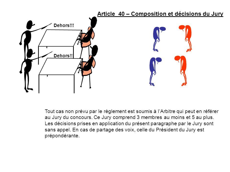 Article 40 – Composition et décisions du Jury Tout cas non prévu par le règlement est soumis à lArbitre qui peut en référer au Jury du concours. Ce Ju