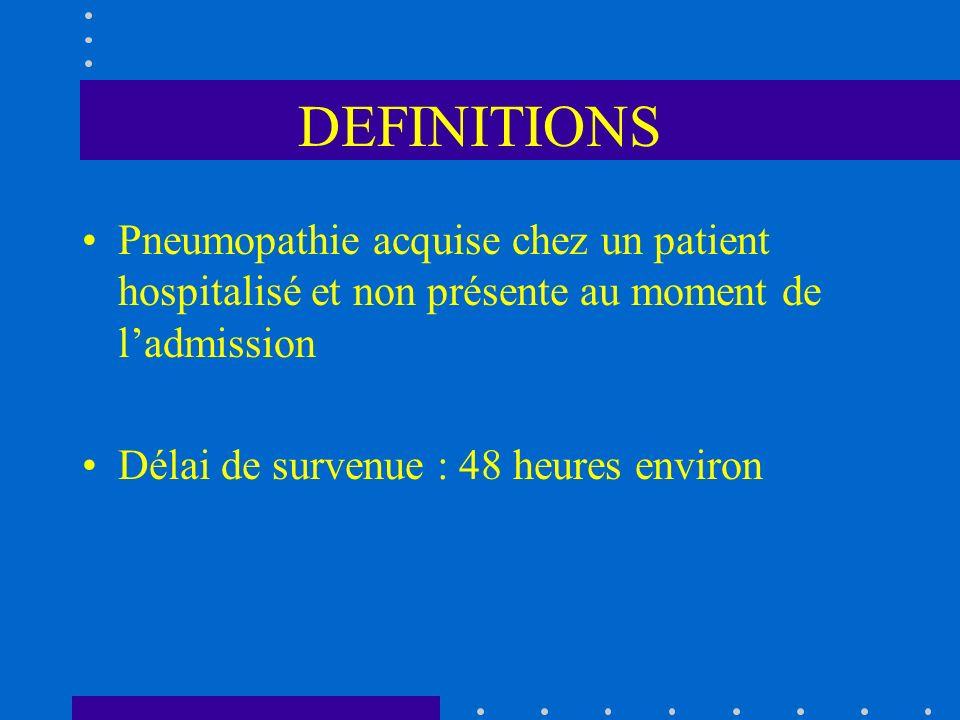 DEFINITIONS Pneumopathie acquise chez un patient hospitalisé et non présente au moment de ladmission Délai de survenue : 48 heures environ