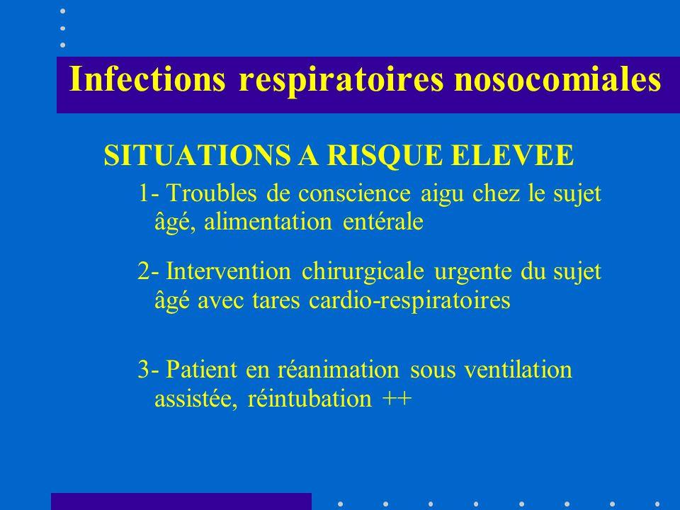 Infections respiratoires nosocomiales SITUATIONS A RISQUE ELEVEE 1- Troubles de conscience aigu chez le sujet âgé, alimentation entérale 2- Interventi