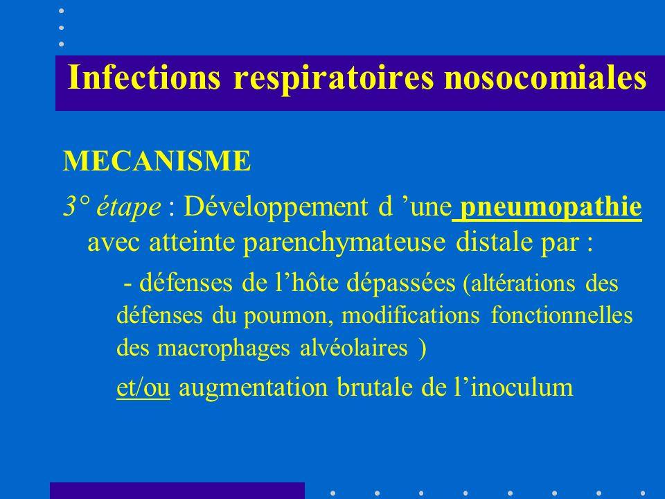 Infections respiratoires nosocomiales MECANISME 3° étape : Développement d une pneumopathie avec atteinte parenchymateuse distale par : - défenses de