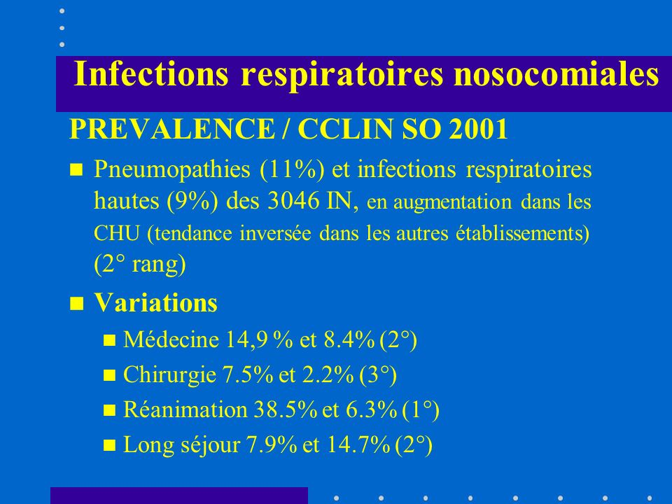 Infections respiratoires nosocomiales MECANISME 3° étape : Développement d une pneumopathie avec atteinte parenchymateuse distale par : - défenses de lhôte dépassées (altérations des défenses du poumon, modifications fonctionnelles des macrophages alvéolaires ) et/ou augmentation brutale de linoculum