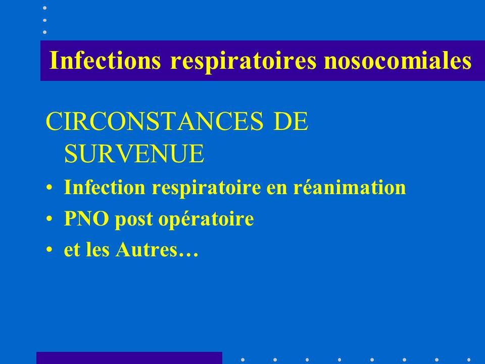 Infections respiratoires nosocomiales FACTEURS DE RISQUE (1) Liés au patient : Âge>60 ans (OR:10.2) maladies chroniques sous-jacentes, BPCO, immunodépression gravité du patient troubles de conscience et/ou déglutition Polytraumatisme Maintien en position couchée (OR:2.9) Liés aux interventions sur voies aériennes : intubation trachéale, ré intubation, sonde gastrique, présence et durée dune ventilation assistée