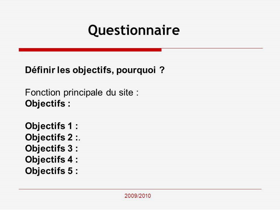 Définir les objectifs, pourquoi ? Fonction principale du site : Objectifs : Objectifs 1 : Objectifs 2 :. Objectifs 3 : Objectifs 4 : Objectifs 5 : 200