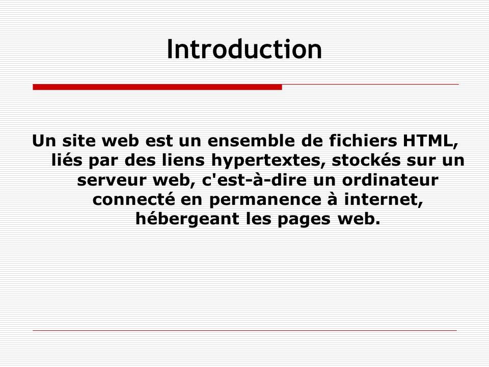 Introduction Un site web est un ensemble de fichiers HTML, liés par des liens hypertextes, stockés sur un serveur web, c'est-à-dire un ordinateur conn
