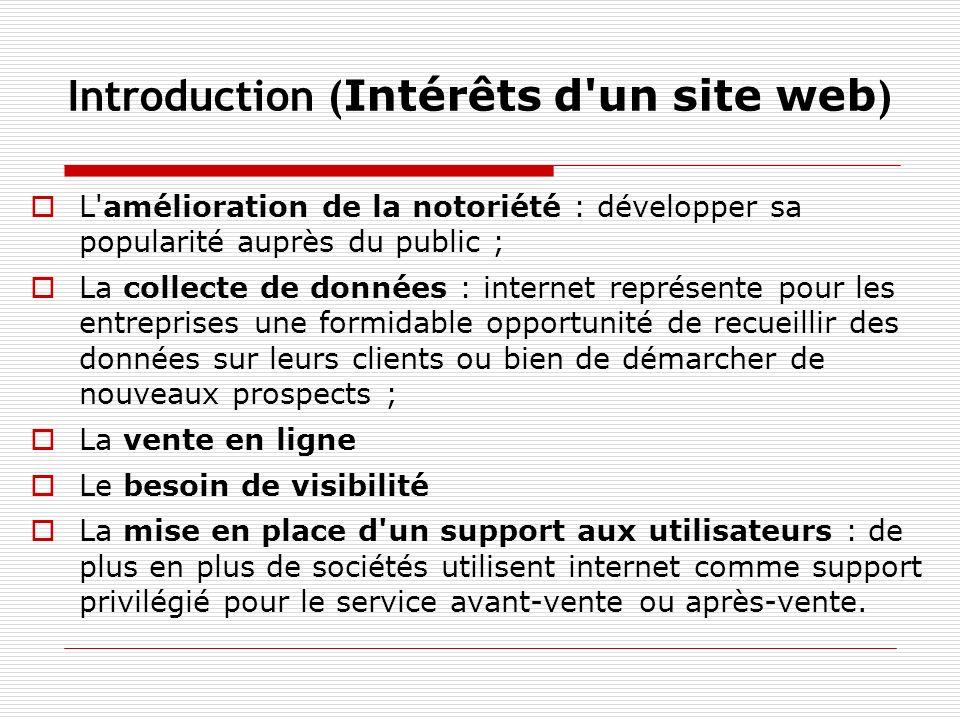Introduction ( Intérêts d'un site web ) L'amélioration de la notoriété : développer sa popularité auprès du public ; La collecte de données : internet