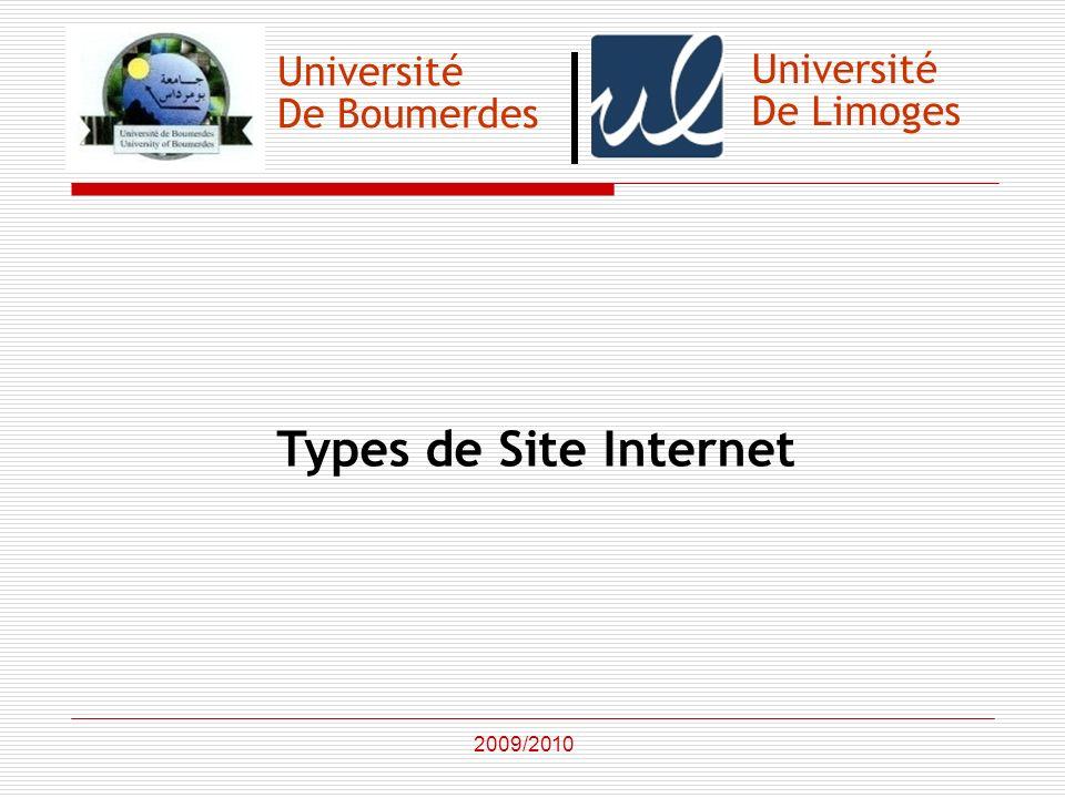 Université De Boumerdes Types de Site Internet 2009/2010 Université De Limoges