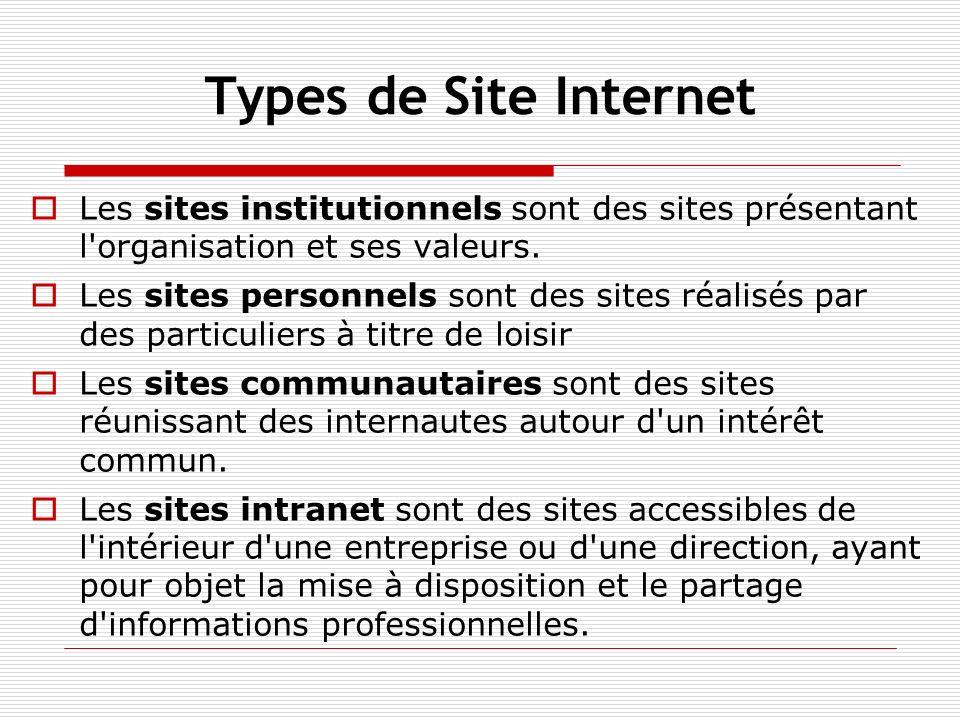 Types de Site Internet Les sites institutionnels sont des sites présentant l'organisation et ses valeurs. Les sites personnels sont des sites réalisés