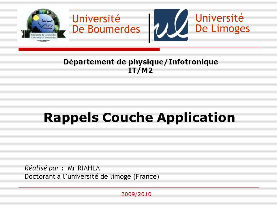 Université De Boumerdes Département de physique/Infotronique IT/M2 Rappels Couche Application Réalisé par : Mr RIAHLA Doctorant a luniversité de limog