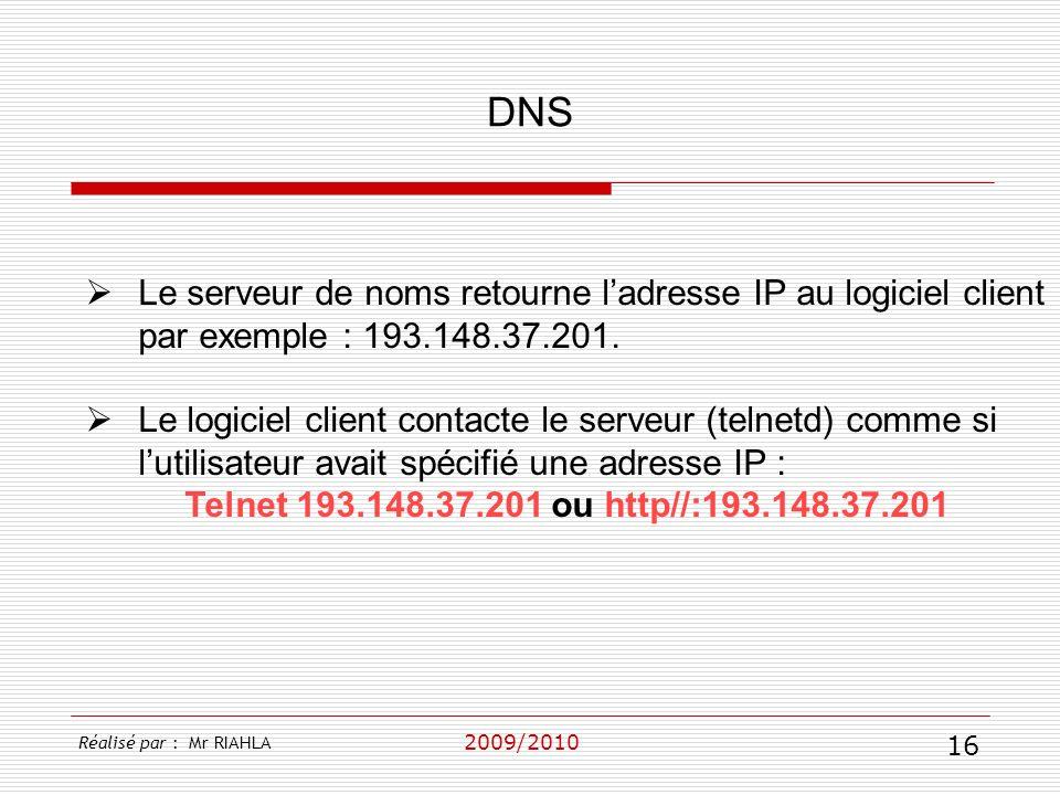 2009/2010 Le serveur de noms retourne ladresse IP au logiciel client par exemple : 193.148.37.201. Le logiciel client contacte le serveur (telnetd) co