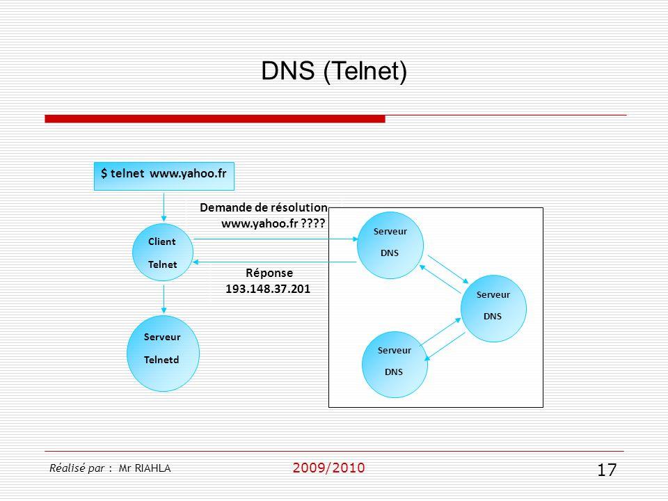 2009/2010 DNS (Telnet) Réalisé par : Mr RIAHLA 17 Réponse 193.148.37.201 Demande de résolution www.yahoo.fr ???? $ telnet www.yahoo.fr Client Telnet S