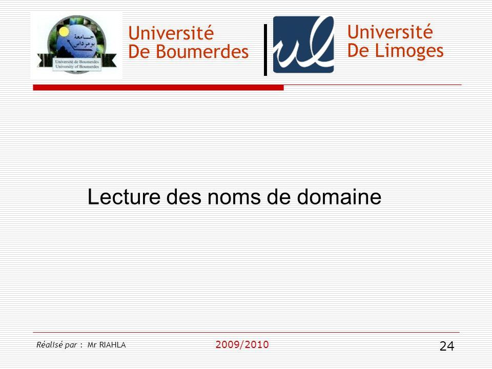 Université De Boumerdes 2009/2010 Université De Limoges Lecture des noms de domaine Réalisé par : Mr RIAHLA 24