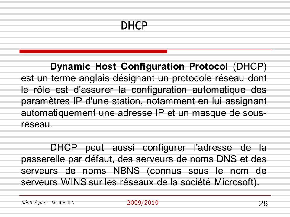 DHCP 2009/2010 Dynamic Host Configuration Protocol (DHCP) est un terme anglais désignant un protocole réseau dont le rôle est d'assurer la configurati