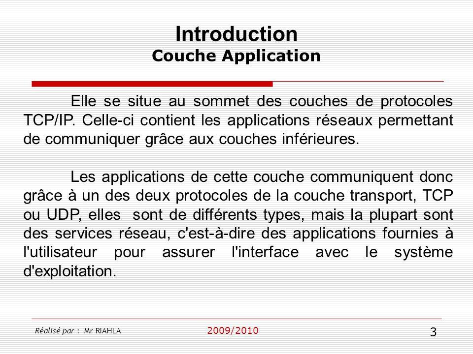 2009/2010 Elle se situe au sommet des couches de protocoles TCP/IP. Celle-ci contient les applications réseaux permettant de communiquer grâce aux cou