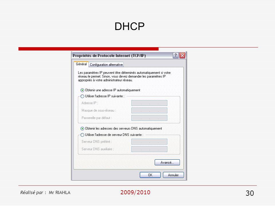 DHCP 2009/2010 Réalisé par : Mr RIAHLA 30