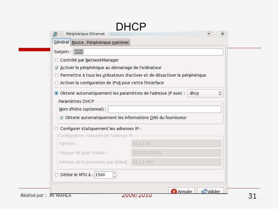 DHCP 2009/2010 Réalisé par : Mr RIAHLA 31