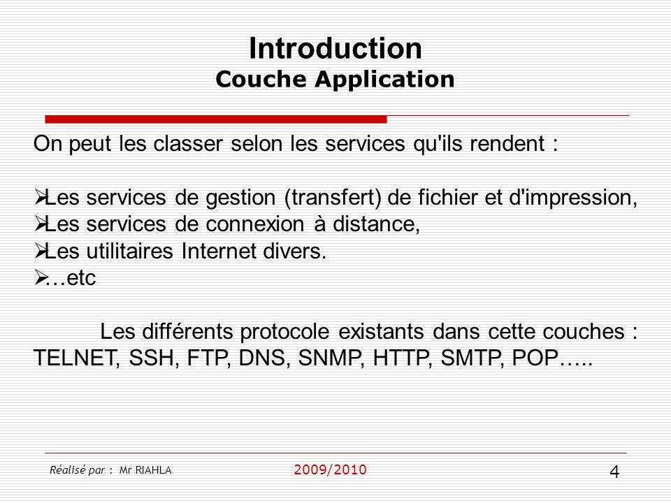 2009/2010 On peut les classer selon les services qu'ils rendent : Les services de gestion (transfert) de fichier et d'impression, Les services de conn
