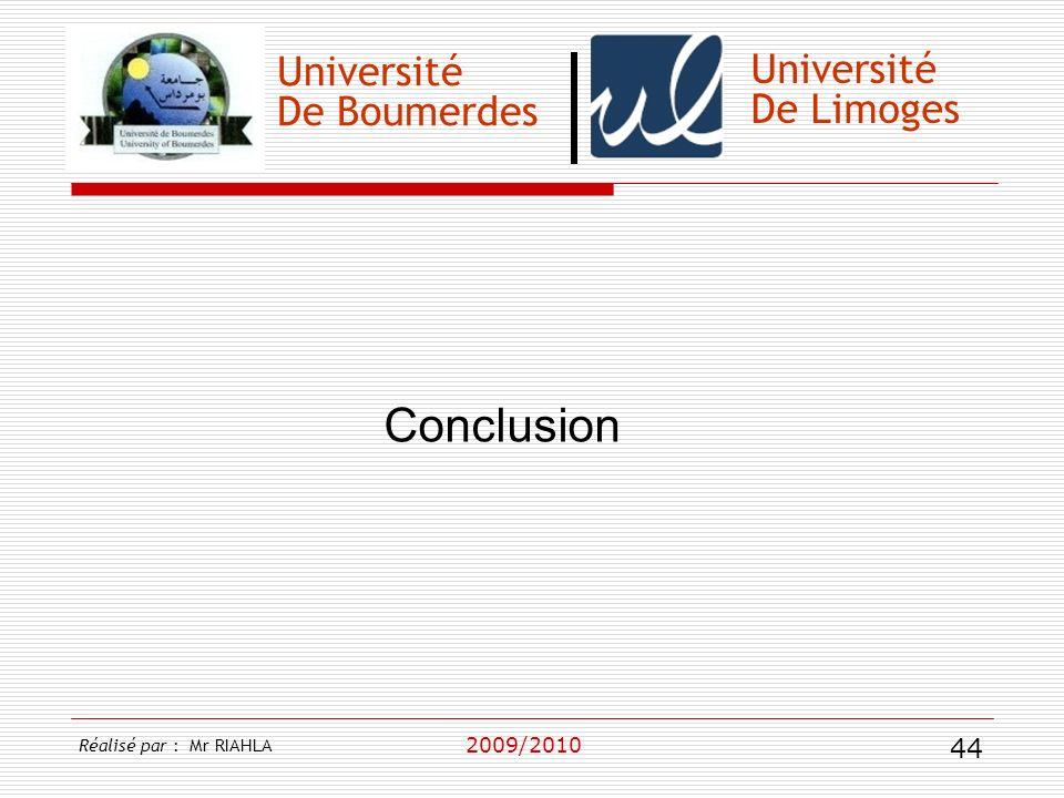 Université De Boumerdes 2009/2010 Université De Limoges Conclusion Réalisé par : Mr RIAHLA 44
