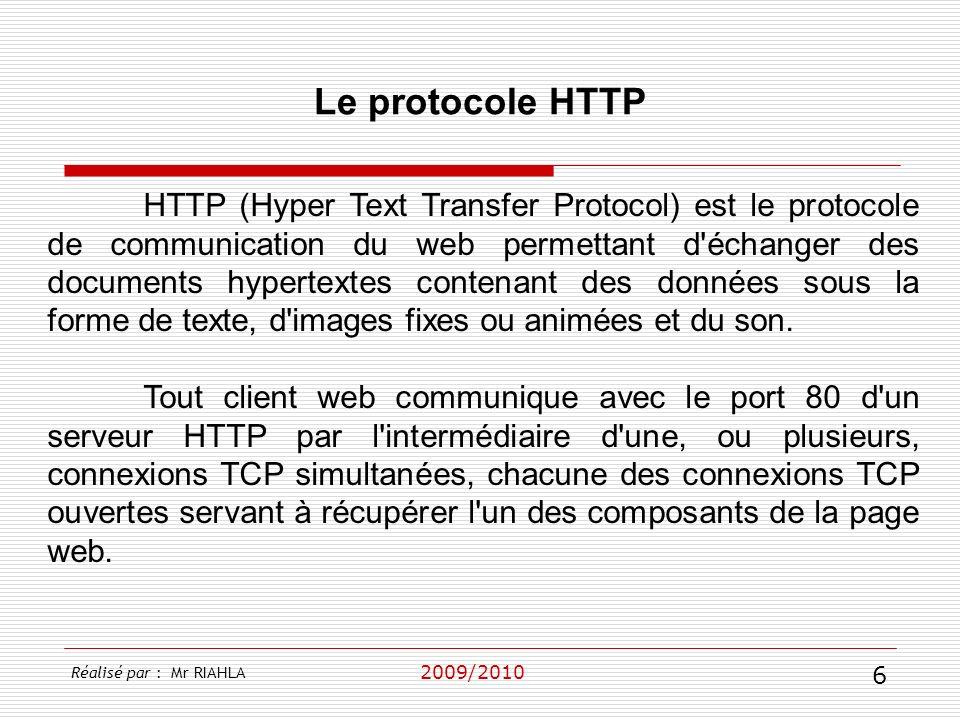 2009/2010 HTTP (Hyper Text Transfer Protocol) est le protocole de communication du web permettant d'échanger des documents hypertextes contenant des d