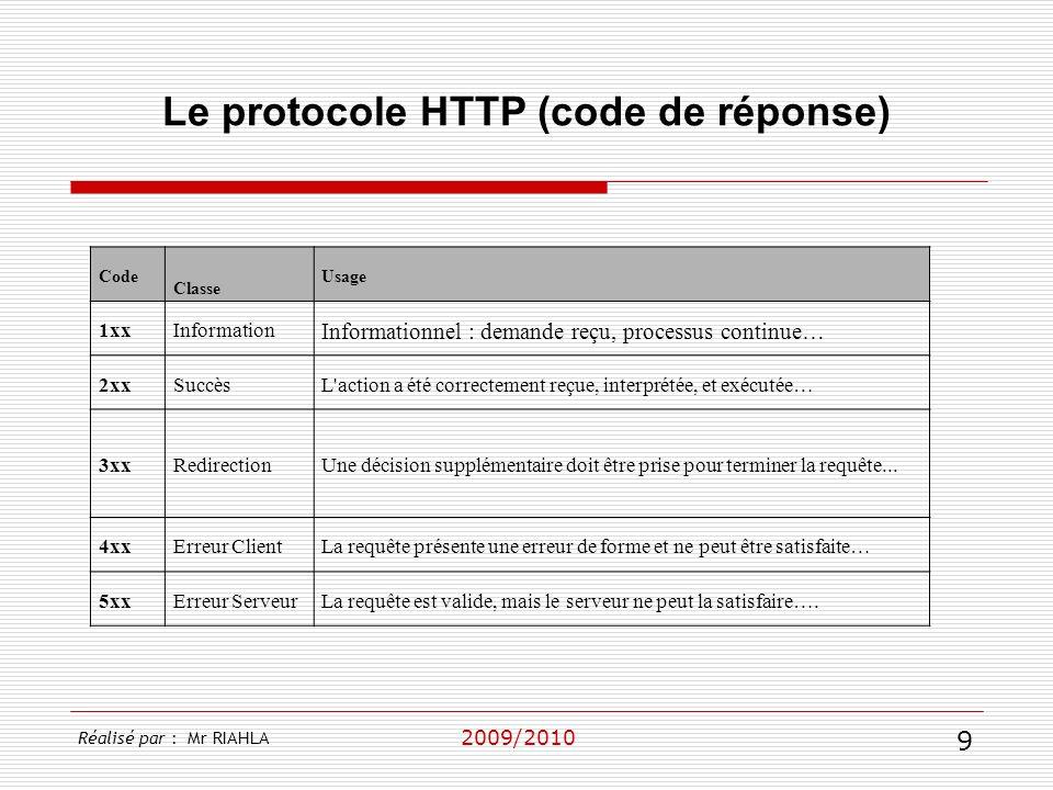2009/2010 Le protocole HTTP (code de réponse) Réalisé par : Mr RIAHLA 9 Code Classe Usage 1xxInformation Informationnel : demande reçu, processus cont
