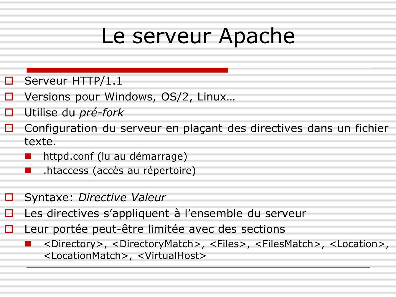Le serveur Apache Serveur HTTP/1.1 Versions pour Windows, OS/2, Linux… Utilise du pré-fork Configuration du serveur en plaçant des directives dans un