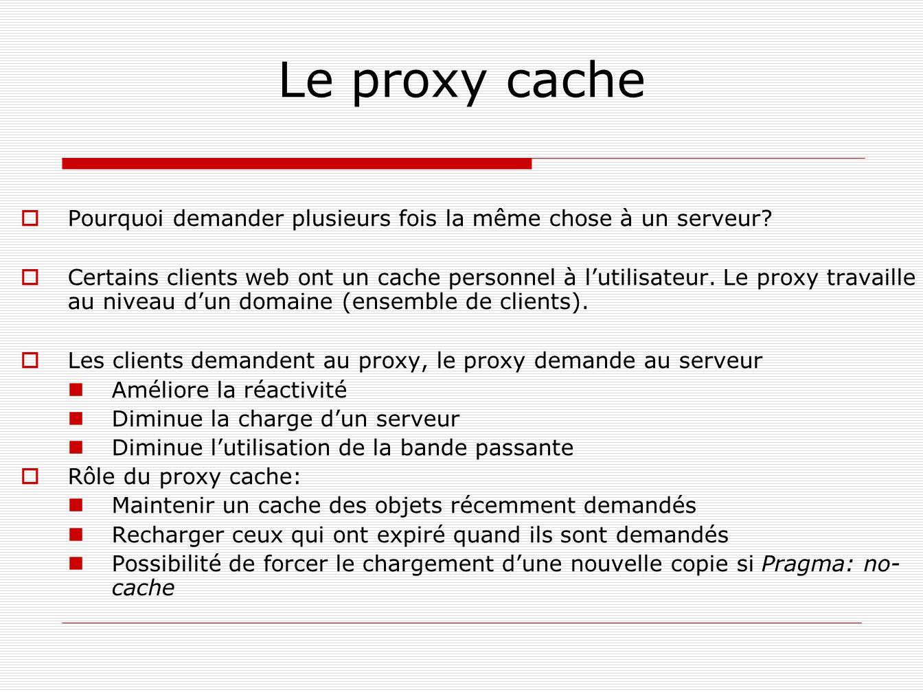 Le proxy cache Pourquoi demander plusieurs fois la même chose à un serveur? Certains clients web ont un cache personnel à lutilisateur. Le proxy trava