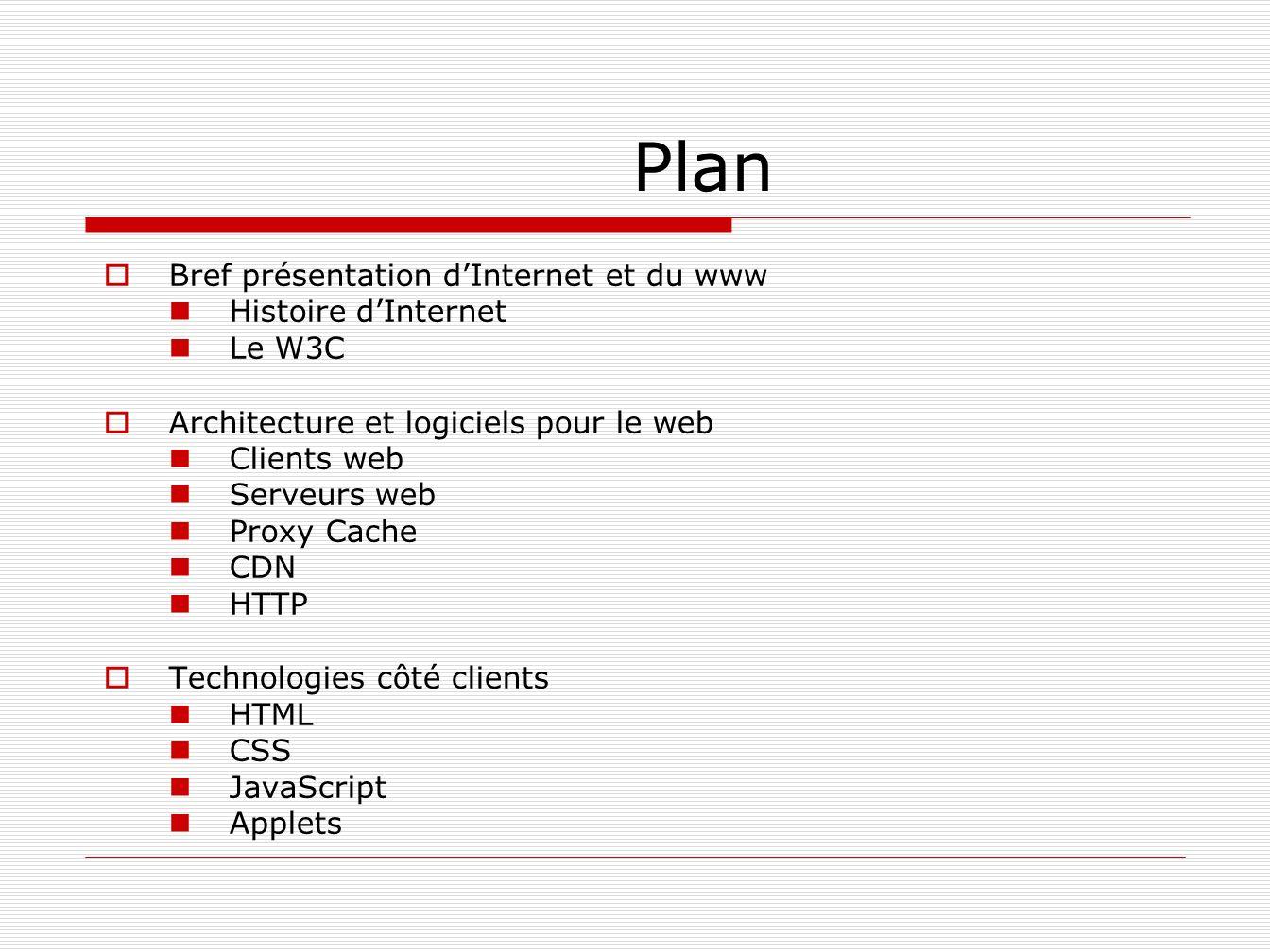 Plan Bref présentation dInternet et du www Histoire dInternet Le W3C Architecture et logiciels pour le web Clients web Serveurs web Proxy Cache CDN HT