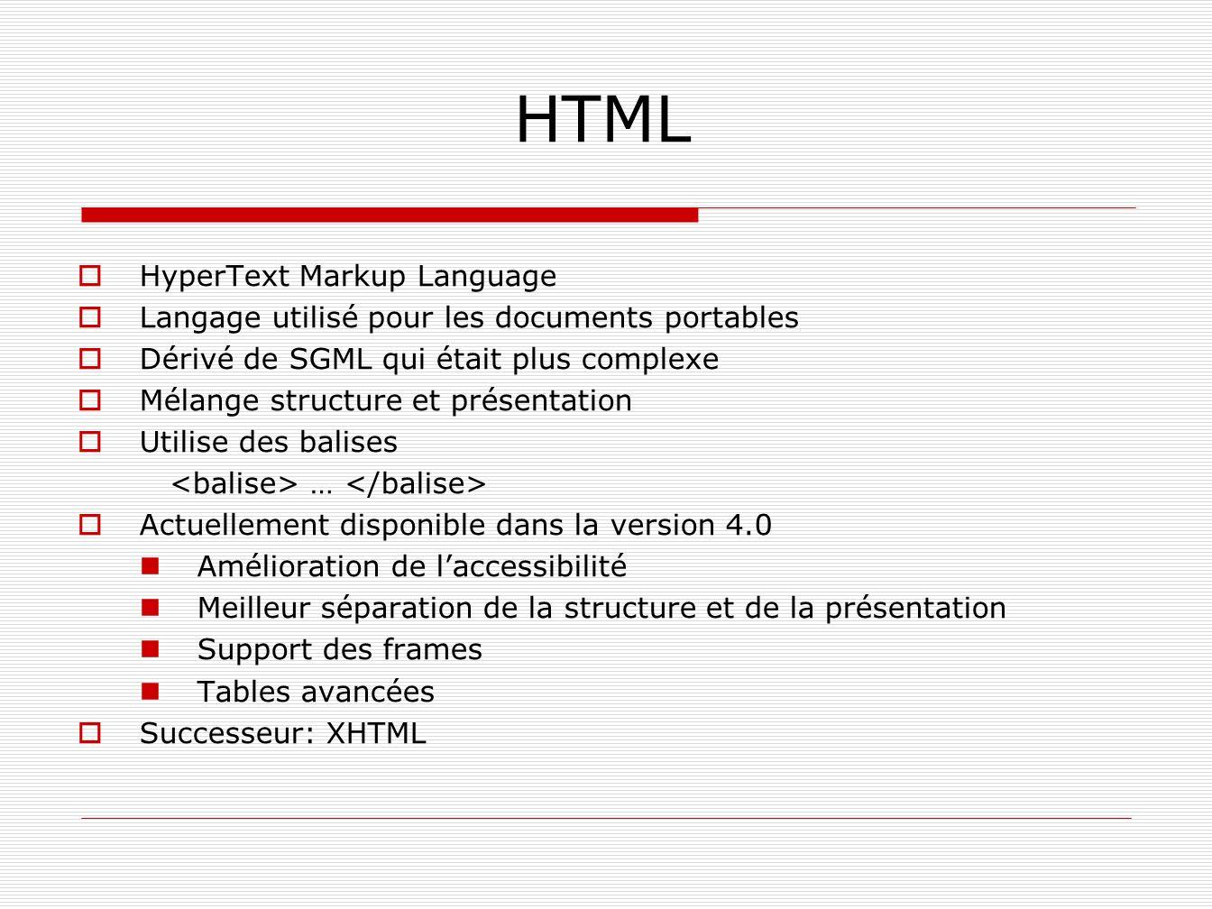HTML HyperText Markup Language Langage utilisé pour les documents portables Dérivé de SGML qui était plus complexe Mélange structure et présentation U