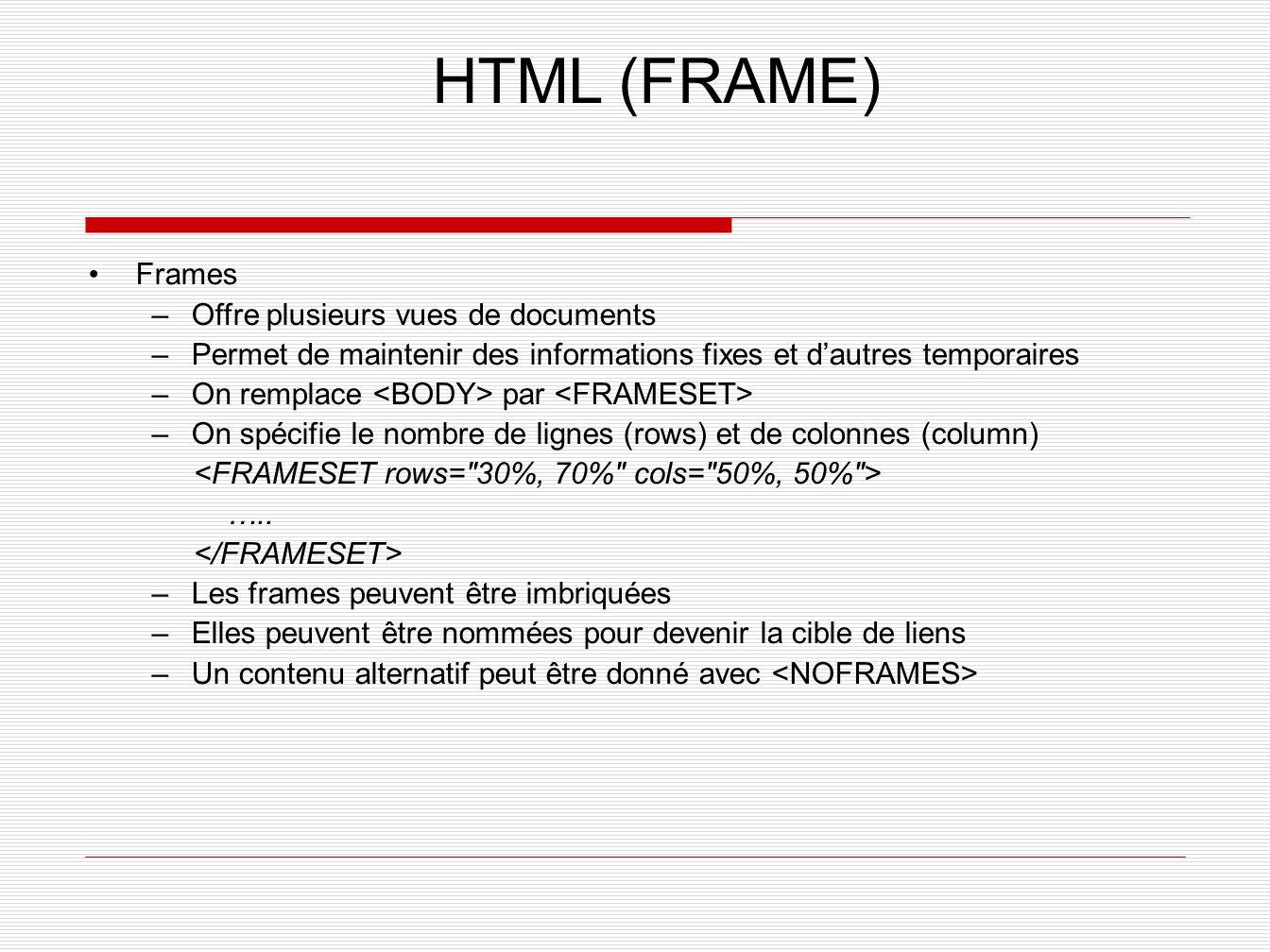 HTML (FRAME) Frames –Offre plusieurs vues de documents –Permet de maintenir des informations fixes et dautres temporaires –On remplace par –On spécifi