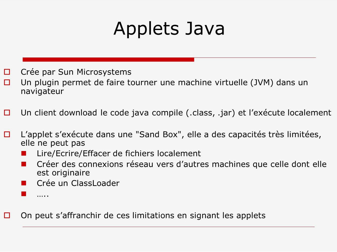 Applets Java Crée par Sun Microsystems Un plugin permet de faire tourner une machine virtuelle (JVM) dans un navigateur Un client download le code jav