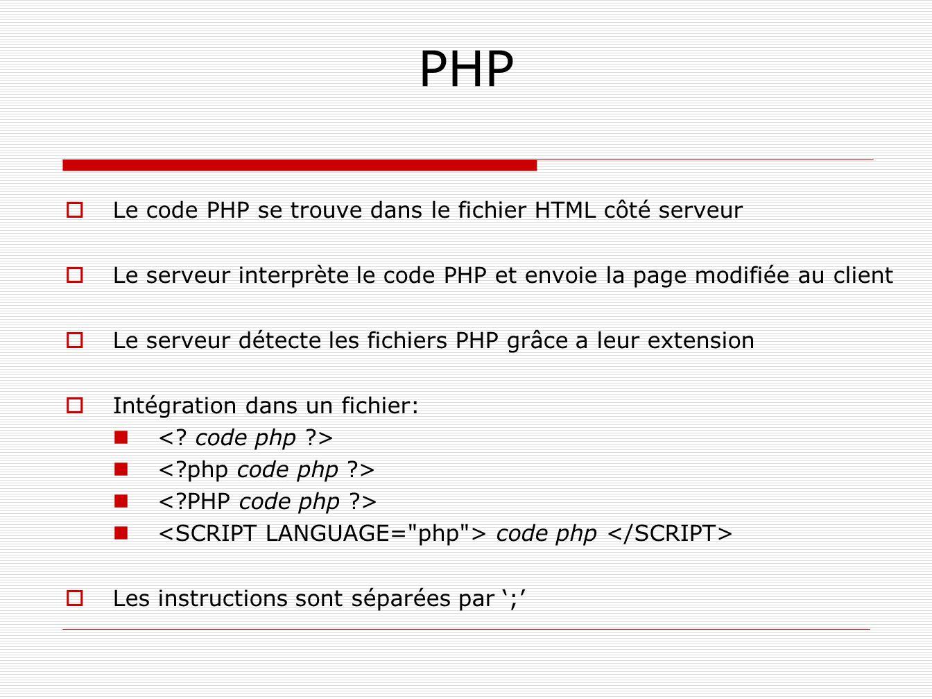 PHP Le code PHP se trouve dans le fichier HTML côté serveur Le serveur interprète le code PHP et envoie la page modifiée au client Le serveur détecte